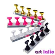 5pcs Nail Art pratica Display Stand scacchiera punte magnetiche bianco nero supporto per pratica Set Gel polacco strumento grafico a colori