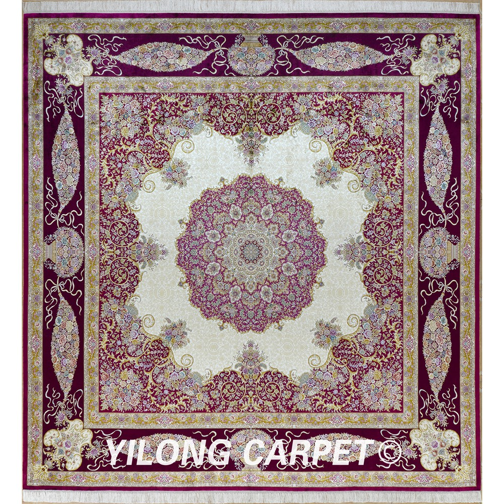 Yilong 10u0027x10u0027 Oriental Square Carpet Purple Beige Exquisite Hand Knotted  Oriental Square Rug
