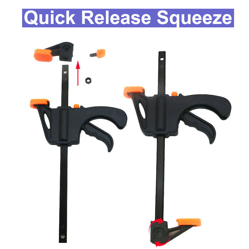 Quick Ratchet Release Speed Squeeze Wood Working Work Bar F Clamp Clip Kit Spreader Gadget Tools DIY Hand Tool