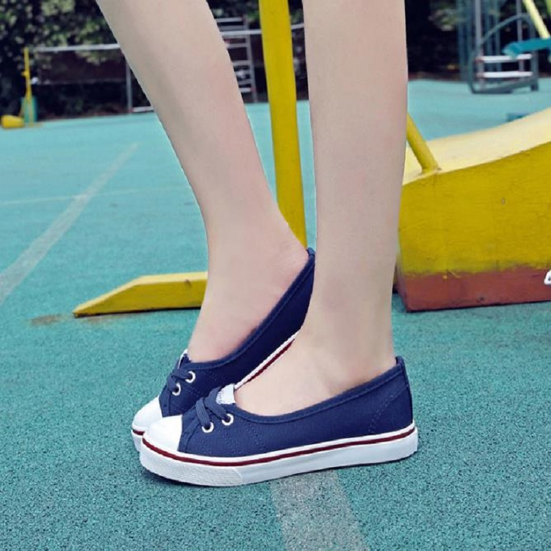 NICBUY tuomasi2018 summer shallow-mouthed canvas shoes student cloth shoes slouchy shoes flat foot pedal.
