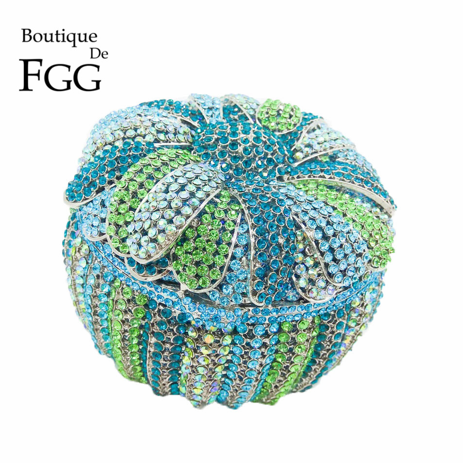 Blue & Green Flower Basket Pumpkin Women Crystal Clutch Evening Bags Metal Minaudiere Handbag Purse Bridal Wedding Eveningbag