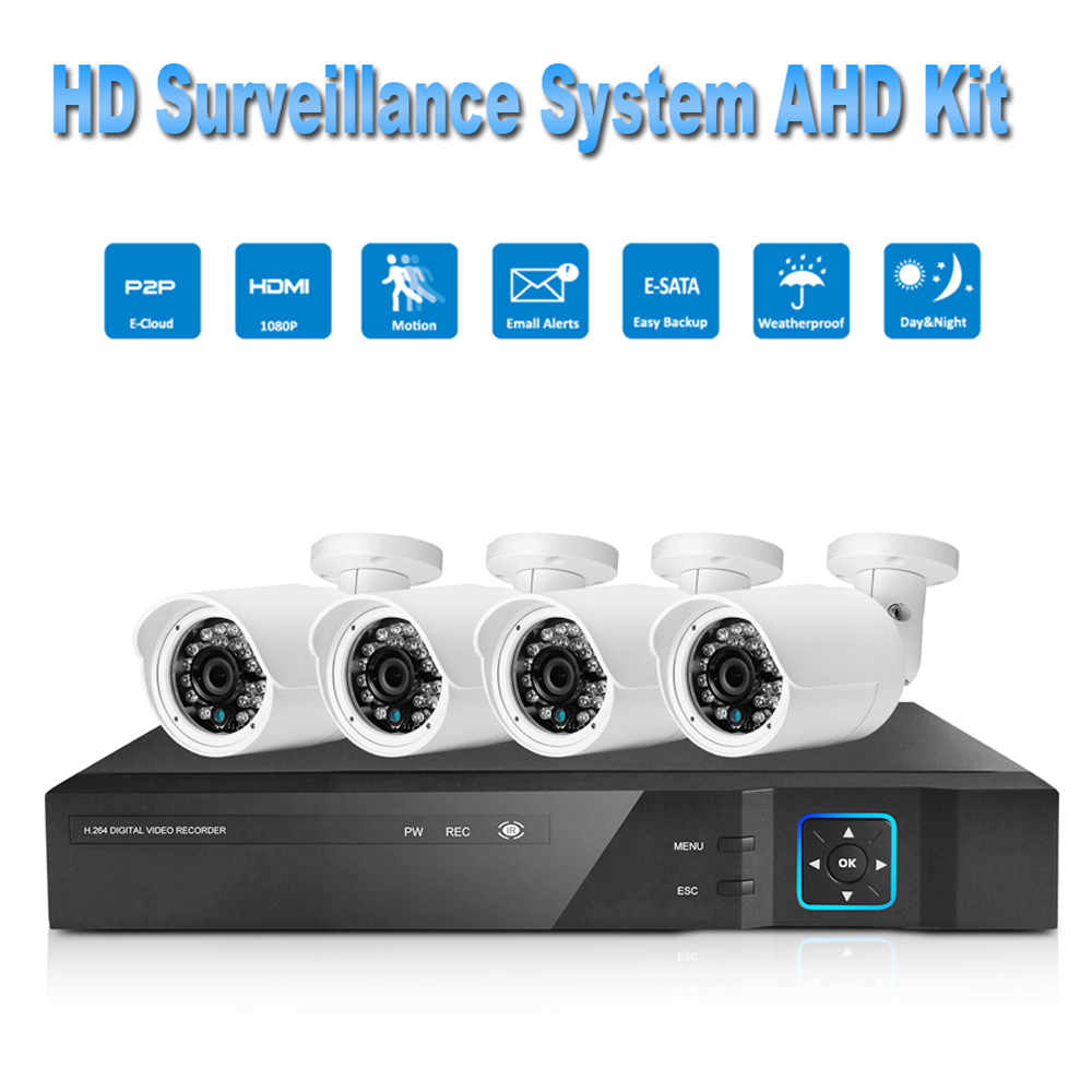 PUAroom 4CH HD 1080P IP66 night vision AHD camera RoHS FCC CE approved H.264 onvif video recording cheap Security Camera System