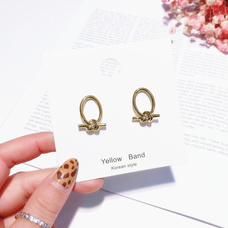 Simple Geometric Knotted Design Gold Color Stud Earrings Vintage Punk Style Small Earring Fashion Ear Jewelry Brincos Gift ER10