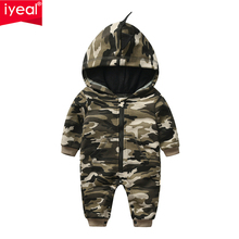 IYEAL New Arrivals Newborn Baby Boys Girls Cotton Camouflage Zipper Hooded Romper Jumpsuit Outfits Clothes bebe Cartoon Clothing