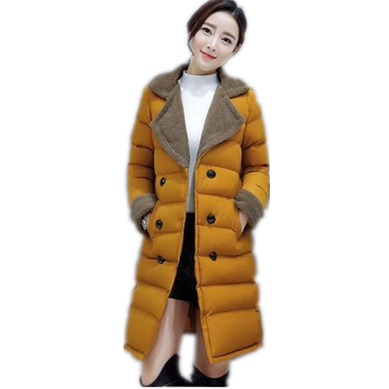 2017 Fashion Turn-Down Collar Women's Winter Coat Female Warm Slim  Outwear Thicken Padded Cotton Medium-Long Jacket Parkas  C13 s 2xl 2 colors 2015 new winter women down coat long slim turn down collar zipper jacket female belt pocket outwear zs308