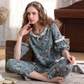 100% Algodão Conjuntos de Pijama Pijamas Das Mulheres Nova Primavera Meia Manga Floral Solto Doce Bonito Sleepwear Set Lounge Em Torno Do Pescoço 3536