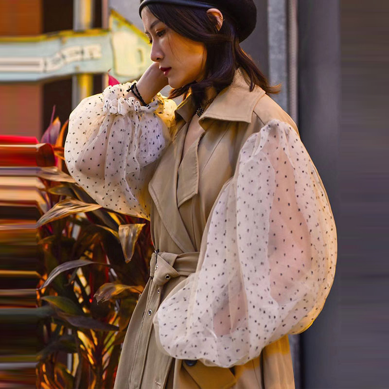 2019 Spring Elegant Women   Trench   Coat Fashion Bubble Yarn Network Windbreaker Female Long Turn-down Collar Pockets Button