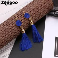 Casual Women Jade Earrings Artificial Pierced Drop Geometric Hook Tassel(China)