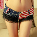 Stripe Hot Shorts Low Rise Waist Booty Short Lace Micro MINI Jeans Bikini Hot Jean Short Erotic Culb Pole Dancing Wear FX2035