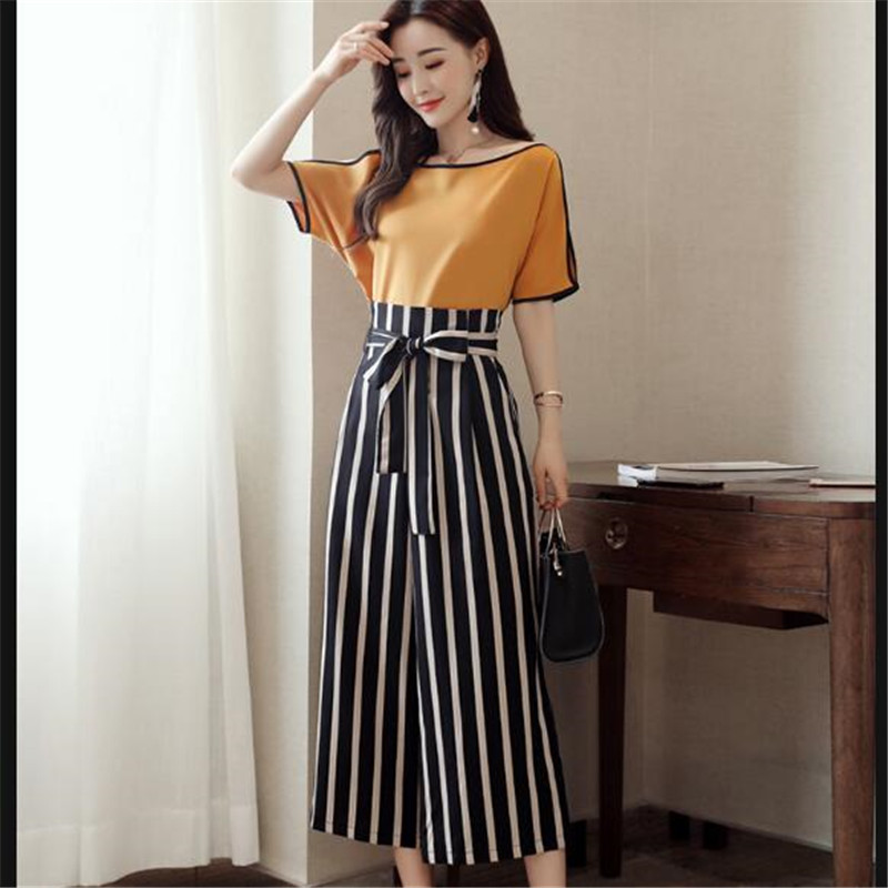 High Quality Women 2 Piece Striped Pant Set 2018 Summer Fashion Short Sleeve Blouse Tops / Ankle-Length Pants Suit Female K0240 2