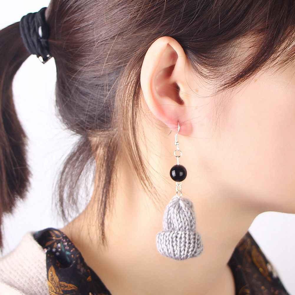 Funny Winter Mini Gray Small Wool Hat Fashion black Pearl Short Dangle Earrings Cute Knitted Cap Earrings