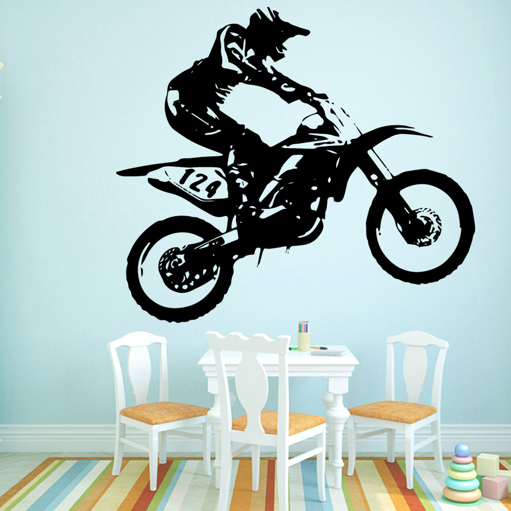 Colorful Motorcycle Vinyl Wallpaper Roll Furniture Decorative Wall <font><b>Stickers</b></font> For Children Wall Decal <font><b>Stickers</b></font> <font><b>Muraux</b></font> image