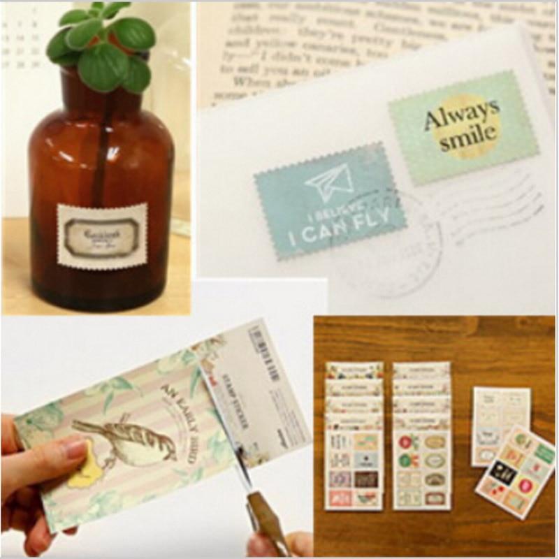 128 pcs /lot (8 bags) Cute vintage stamp stickers for paper scrapbook Retro tower flower crochet Decoration Student 913