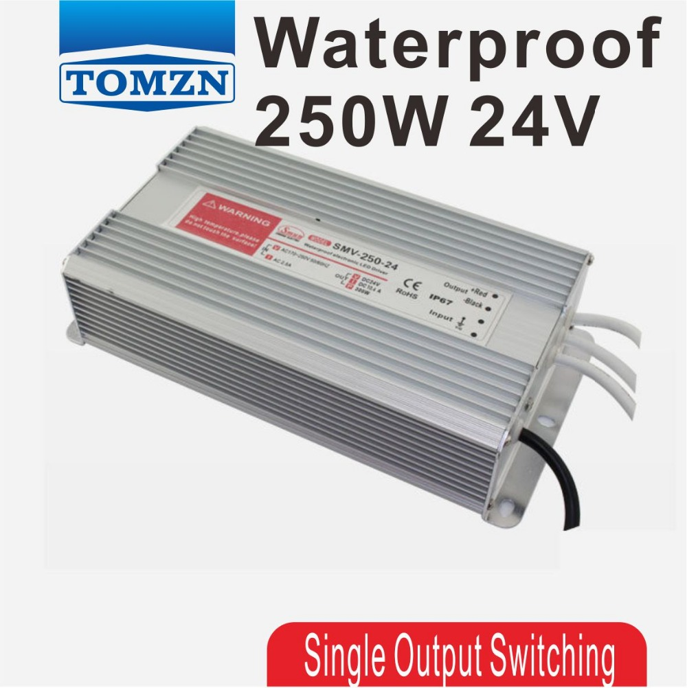 купить 250W 24V 10.2A Water proof outdoor Single DC Output Switching power supply for LED SMPS по цене 4239.64 рублей