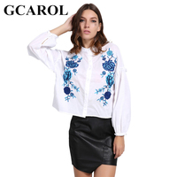 GCAROL Euro Style Blue Floral Embroidery Women Blouse Puff Sleeve Crop Tops High Quality Oversize