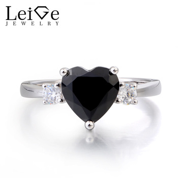 Leige Jewelry Cocktail Party Rings Natural Black Spinel Ring Black Gems Heart Cut Gemstone 925 Sterling Silver Ring for Women