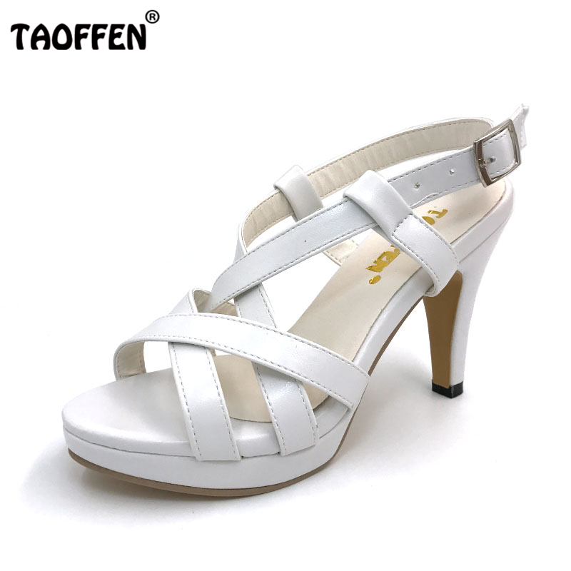 TAOFFEN Size 32-43 New High Heel Sandals Women Sandals Shoes Summer Girl Ladies Female Platform High Heels Sandals Women Shoes taoffen women shoes women sandals wedge heels platform summer shoes leopard slip on slippers trend fashion shoes plus size 33 43