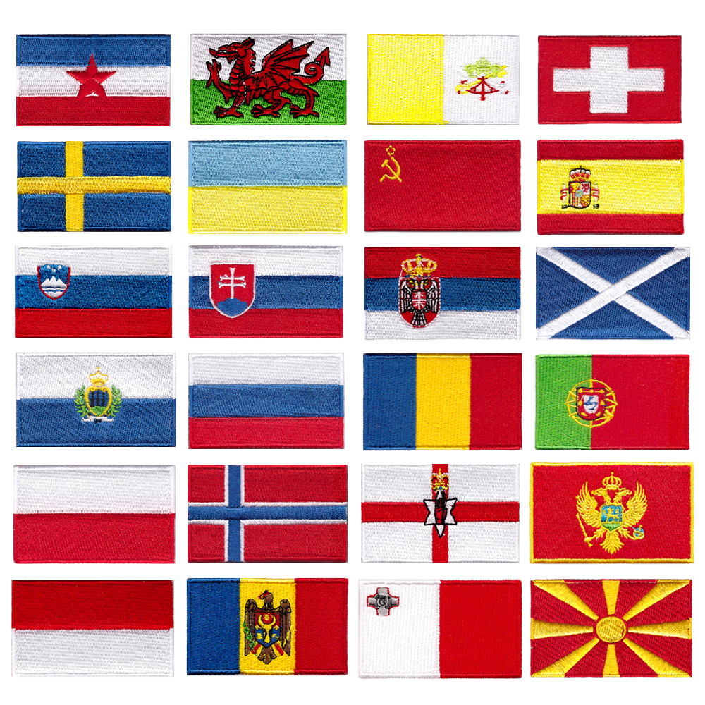 Europe Slovakia Slovenia Romania Scotland Spain Sweden Wales Indonesia Switzerland Russia Poland Vatican Flag Embroidery Patche(China)