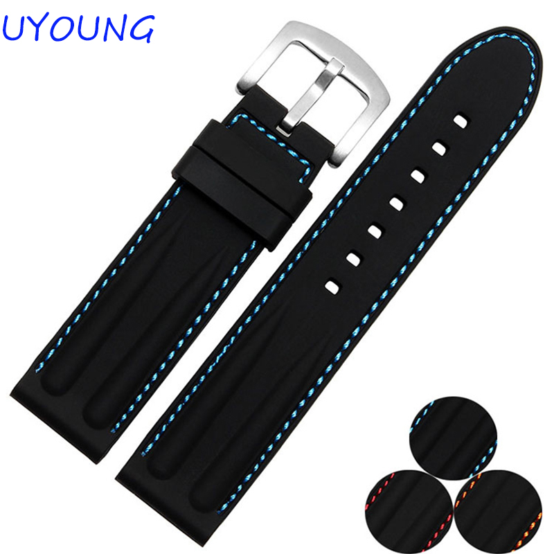 Quality Silicone rubber Watchband 22mm 24mm  With Red Blue Line For Mens watch Strap Waterproof Watch accessories new 24 mm dark green waterproof silicone rubber strap watchband for pam with logo free shiping