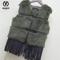 2017 New Fashion Women Real Rabbit Fur Vest With Tassel Lady Knitted Natural Rabbit Fur Coat