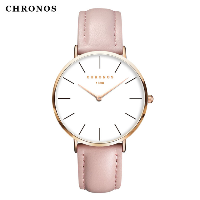 CHRONOS Fashion Women Pink Leather Wristwatches Lovers Couples Rose Gold Case Wa