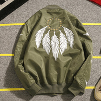 New Men S Spring Jackets Fashion Embroidery Bomber Jacket Feather Decorate Baseball Jackets Street Hiphop Coat