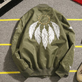 New Men's Spring Jackets Fashion Embroidery Bomber Jacket Feather Decorate Baseball Jackets Street Hiphop Coat Plus Size 5XL