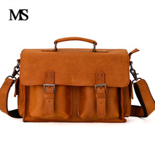 все цены на Genuine Leather Men Bag male Casual Tote Shoulder Crossbody Bags messenger mens business leather bag Laptop Briefcases TW2013 онлайн
