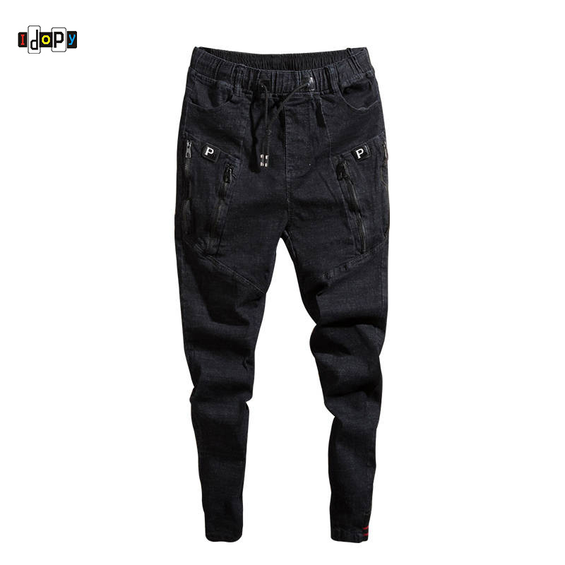Idopy Fashion Mens Trend Stretchy Harem   Jeans   Drawstring Comfy Ripped Distressed Patchwork Cuffed Denim Joggers For Male