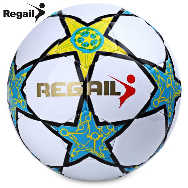 2016 Hot Sale Soccer Ball Regail Five-pointed Star PU White Synthetic Leather Football For Younger Teenager Game Training