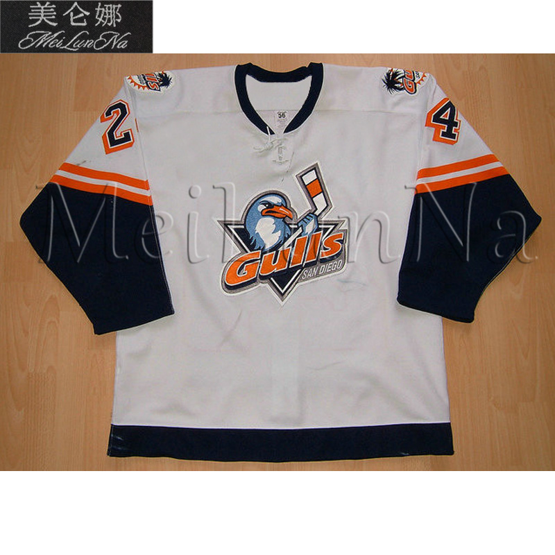 MeiLunNa Custom IHL ECHL San Diego Gulls Hockey Jerseys 20 Willie ORee Barahona Couture Duguay DuPont Sewn On Any Name NO. Size