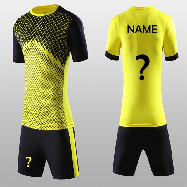73cb2a55f96 Free Shipping New 2018 19 Yellow Color Men's Soccer Jerseys Sets Can Custom  Man Soccer Uniforms Football Team Jersey Kits Shirts