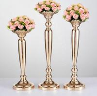 Wedding Ceremony Prop Candle Holder Golden Electroplate Radish Column Ornament Flower Stands Support Stage Main Table VaseSN2193
