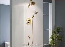 Newly Luxury Shower Set Faucet Golden Polish Brass Shower Head With Ceramics Hand Shower Single Handle