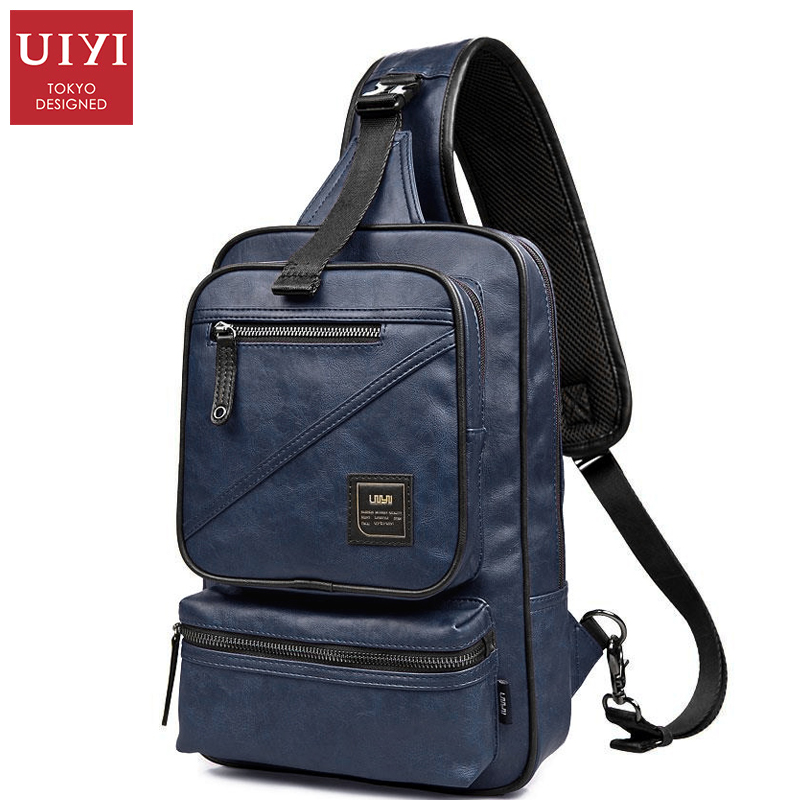 UIYI Brand Fashion Men Bag PU Leather Chest Pack Male Crossbody Shoulder Messenger Bags men s bags chest pack casual single shoulder back strap male bag split leather high capacity chest bag crossbody leather