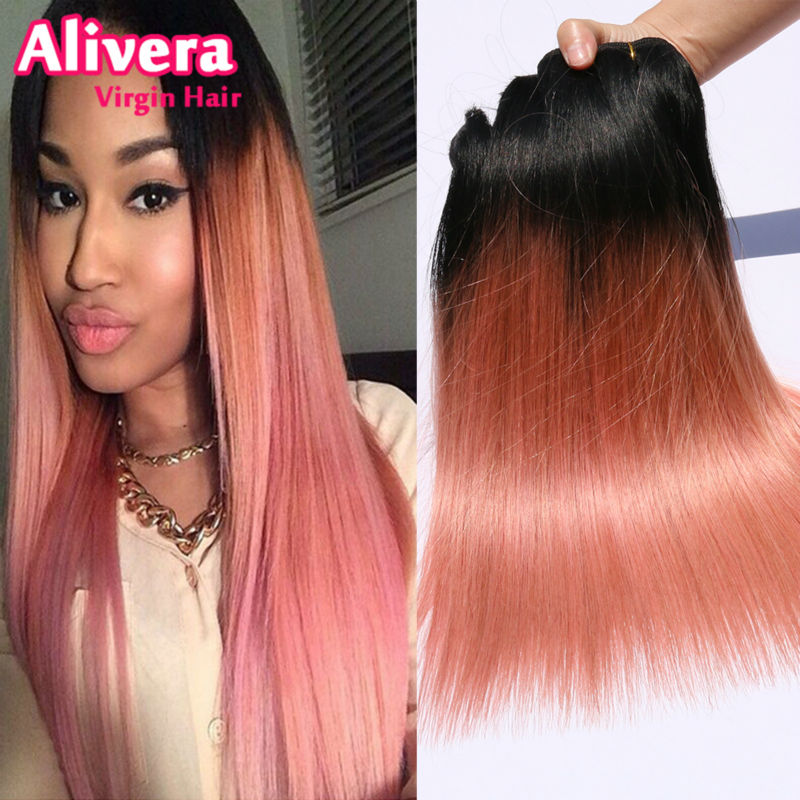 3pcs rose gold peruvian ombre straight hair7a two tone human hair s6 pmusecretfo Gallery