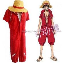 Anime de una pieza Cosplay de Luffy Monkey D. Luffy Cosplay rojo Onesies  disfraz de Halloween sombrero sandalias de paja 41e4846508e