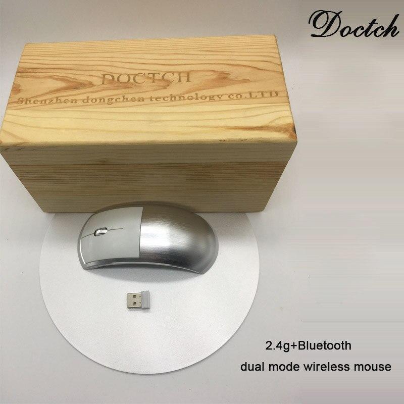 Nouveau DOCTCH D3 2.4 GHz Mini souris optique sans fil Bluetooth double Mode souris muette récepteur USB rechargeable pour windows PC