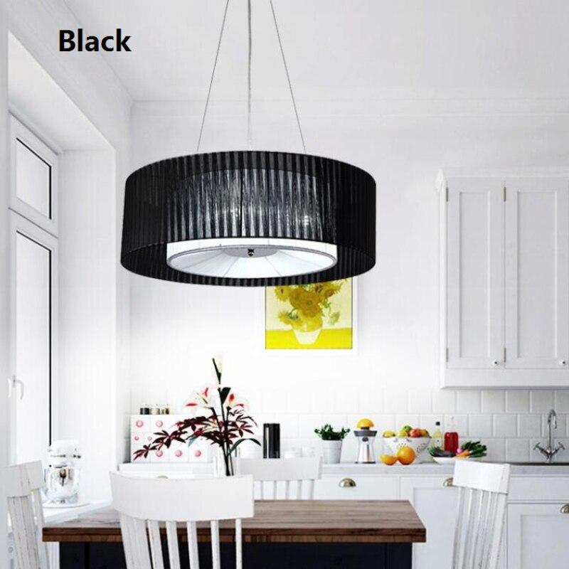 Moderne Einfache Stoffschirm Trommel Kronleuchter Licht Nordic Loft  Hanglamp Restaurant Schlafzimmer Beleuchtung Leuchten Suspendus  110 240V L141