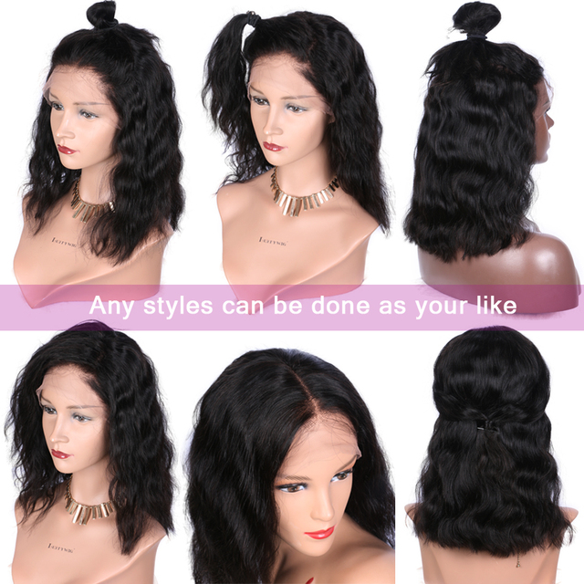 Luffy 13x6 Short Bob Lace Front Wigs Human Hair Natural Wave Indian Non-remy Natural Black Pre Plucked Bleached Knots For Women 4