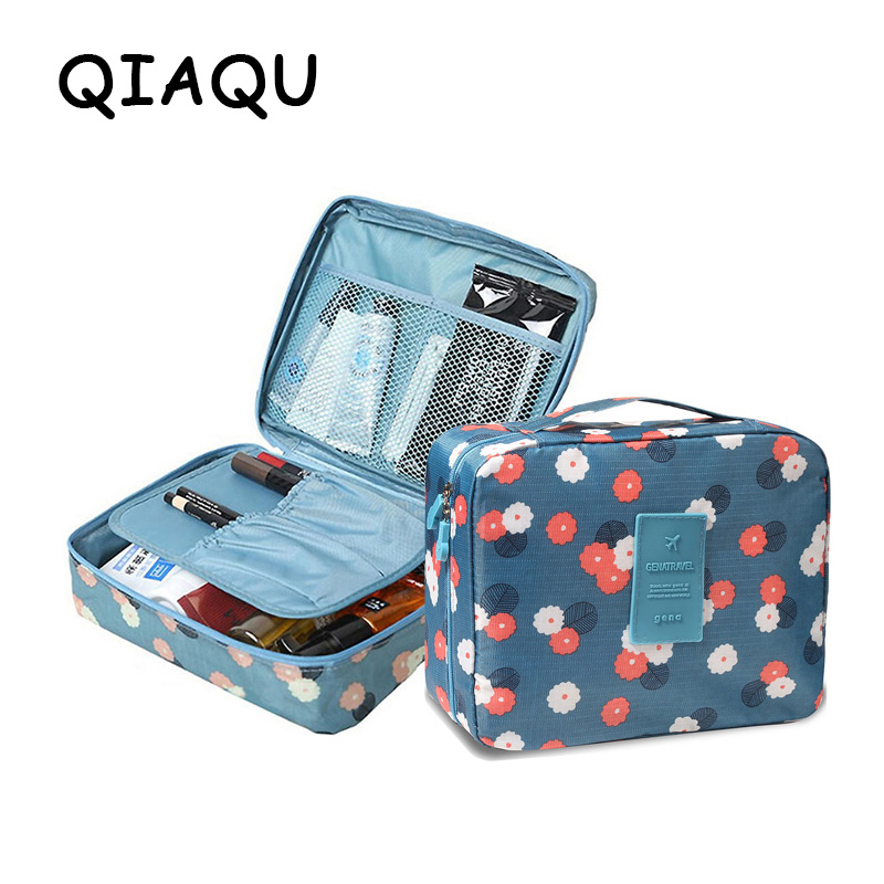 все цены на QIAQU Brand Man Women Makeup bag Cosmetic bag beauty Case Make Up Organizer Toiletry bag kits Storage Travel Wash pouch Neceser