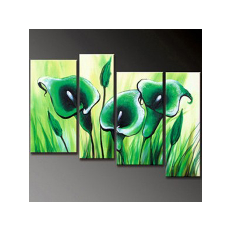 green Calla Lily flowers 4 Panels home Decor NO frame wall decoration painting on canvas wall art picture handpainted murals