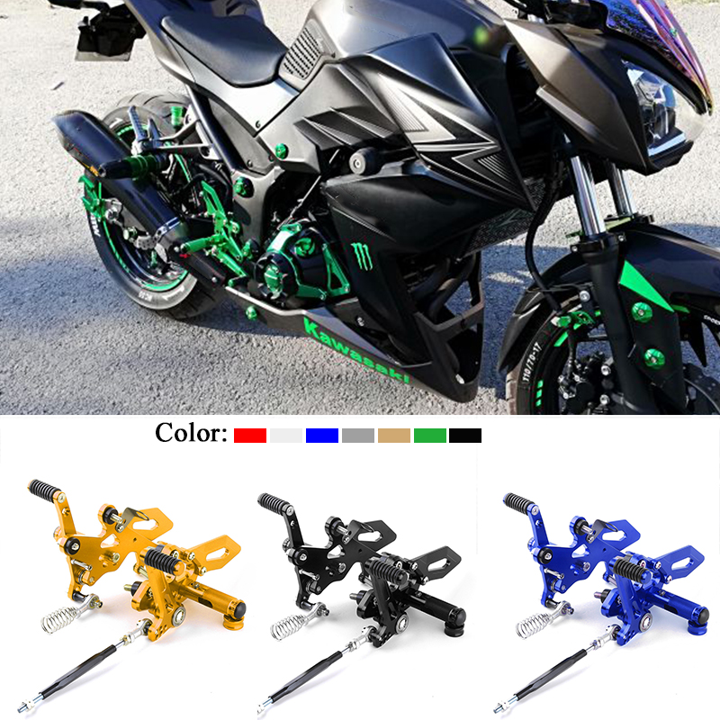 CNC For Kawasaki Ninja 250 Ninja 300 Z250 Z300 Right Left Footrest Motorcycle Aluminum Adjustable Rear