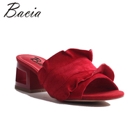 Bacia Fashion RED & Purple Sheepskin Leather Sandals 5.8cm Heels High quality Genuine Leather Peep Toe Pump Size 35 41 MWB002