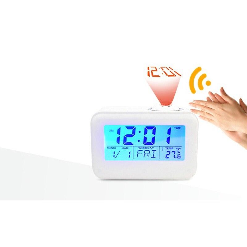 Électronique LCD Projecteur Réveil Temps Température Affichage Numérique Bureau Table De Chevet Horloges Parlant de Voix Calendrier T