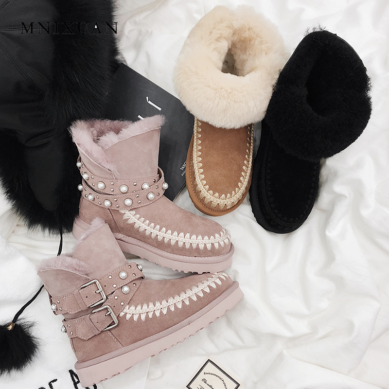 MNIXUAN handmade shoes snow boots women winter boots 2018 new round toe shearling fur platform warm wool ankle boots big size 42 winter 2016 womens boots big size handmade rhinestone studded flat shoes woman platform faux fur snow boots casual ankle booties