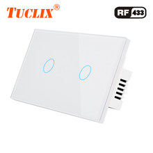 Tuclix Kami Standar Remote Control Switch 2 Gang 1 Cara RF433 Smart Wall Switch, remote Kontrol Nirkabel Touch Light Switch(China)
