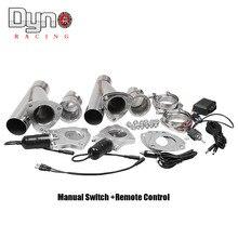 "Dyno 2.25 ""2.5"" 3インチ2xcutリモート制御/手動スイッチステンレス鋼yヘッダペア電気エキゾーストカット寸法パイプキット"