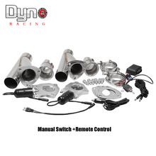 """Dyno 2.25"""" 2.5"""" 3 Inch 2xCut Out Remote Control/ Manual Switch  Stainless Steel Y Headers  Pair Electric Exhaust Cutout Pipe Kit"""
