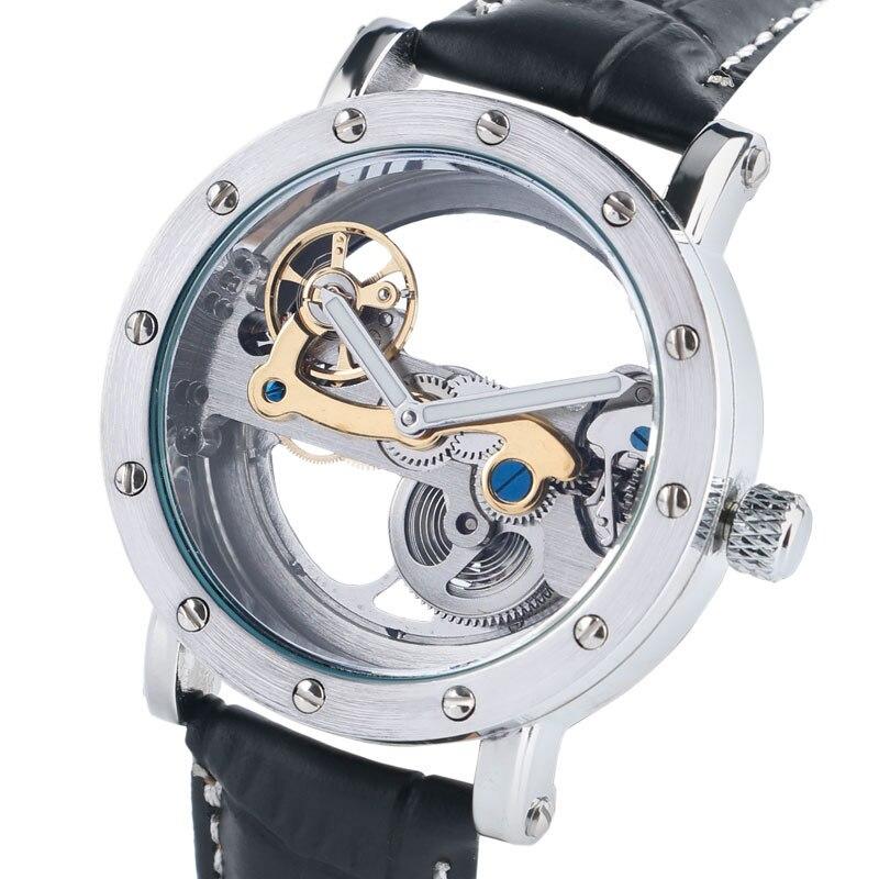 Men's Watch Transparent Skeleton Wristwatch Mechanical Auto Self Wristwatch Male Business Sports Luxury Top Clock Relogio Gift angie st7194 fearless series male auto mechanical watch